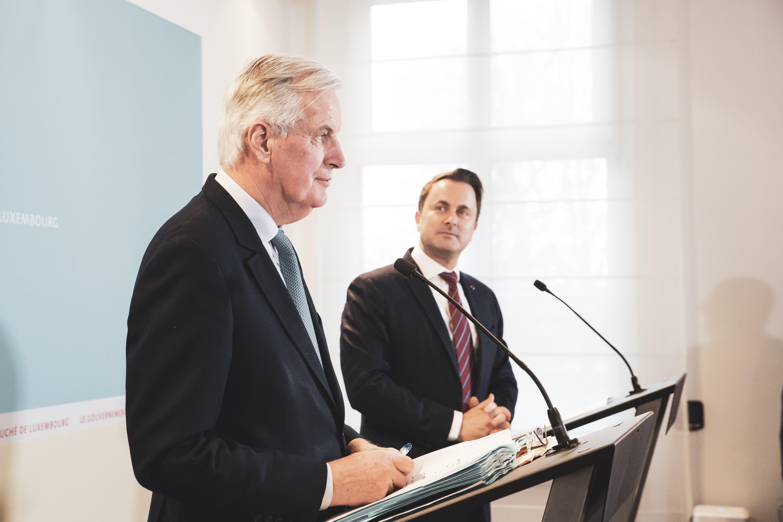 Michel Barnier, négociateur en chef de l'UE et Xavier Bettel, Premier ministre.