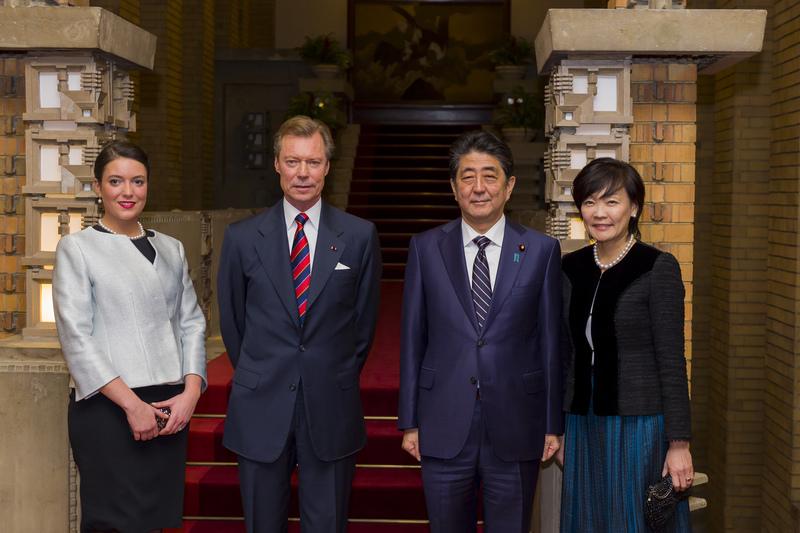 S.A.R. la princesse Alexandra; S.A.R. le Grand-Duc; Shinzo Abe, Premier ministre du Japon et Akie Abe, épouse du Premier ministre japonais Shinzo Abe