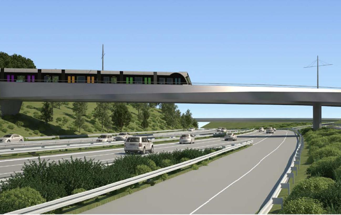 Pour rejoindre le Héienhaff, le tram franchira l'A1 via un pont qui sera construit juste à hauteur du Neien Tramsschapp.