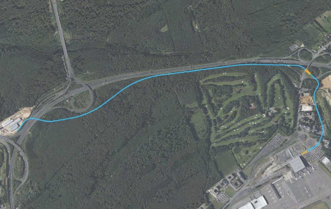 Le tracé du tram entre le Neien Tramsschapp et le Findel.