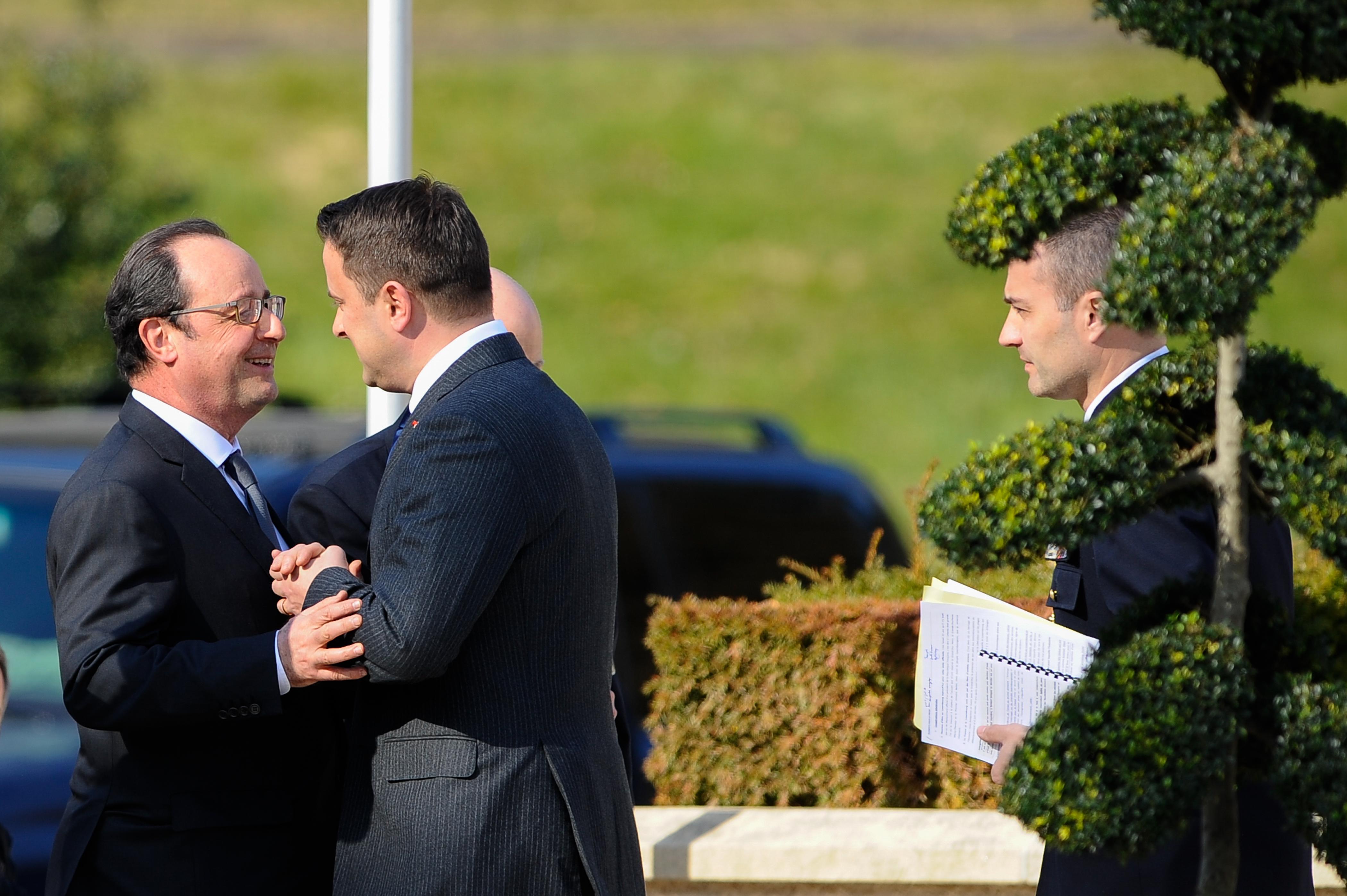 François Hollande et Xavier Bettel. Conférence de presse conjointe au château de Senningen. (Photo: Sip / Jean-Christophe Verhaegen)