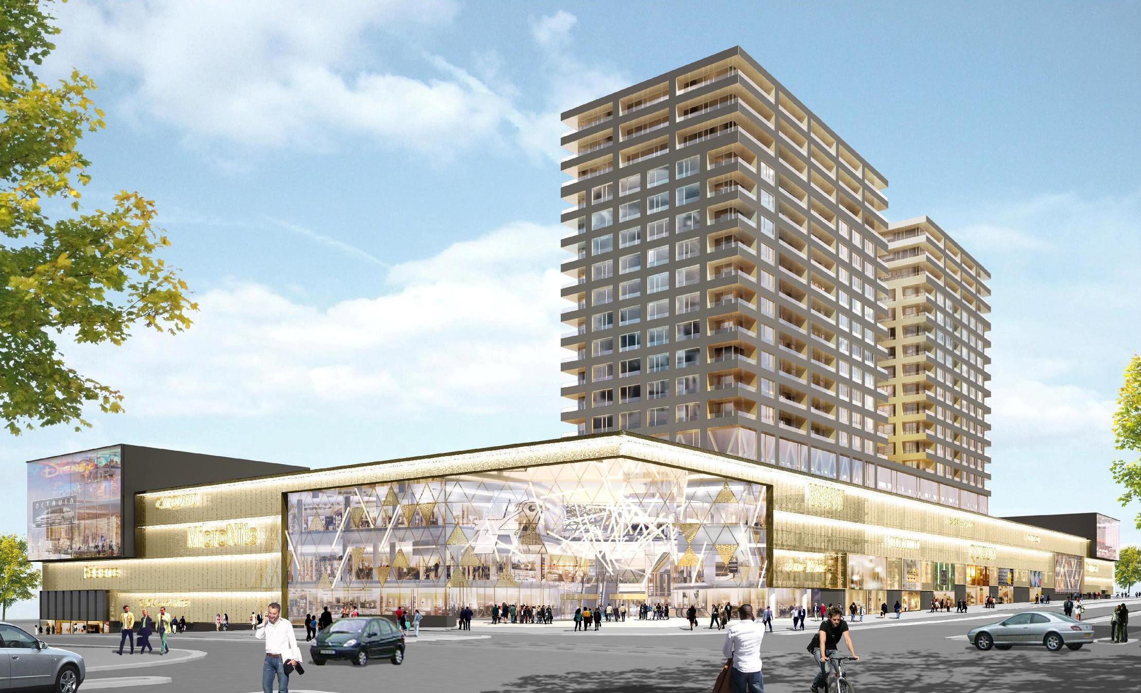 Le futur centre commercial du Ban de Gasperich doit s'étaler sur 75.000 m2 et sera surmonté de deux tours où doivent résider 2.500 personnes. (Crédit: LCO)