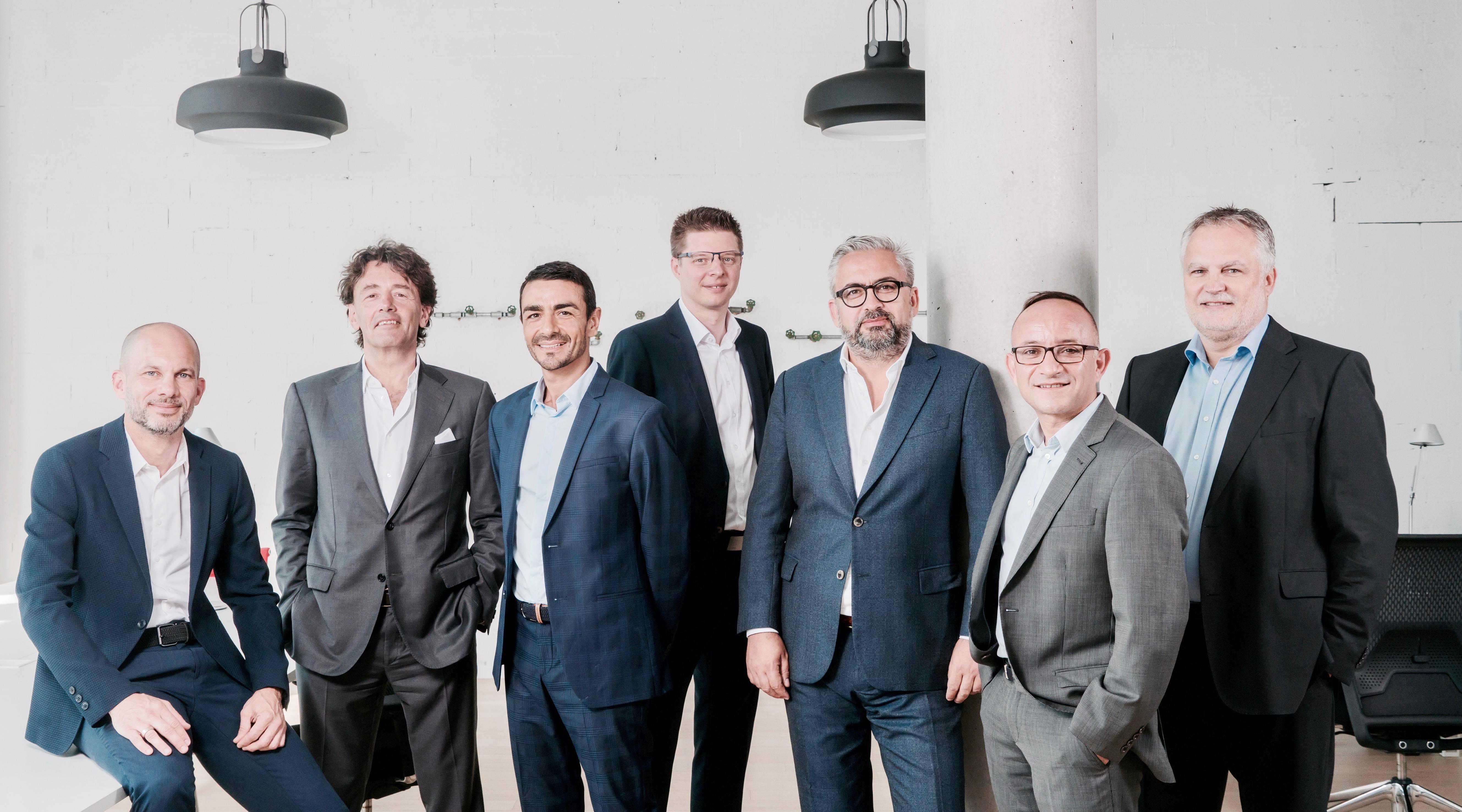 Richard Karacian, nouveau CEO (3e de gauche) et le conseil d'administration de Maison Moderne (d.g. à dr.): Guido Kröger, Daniel Schneider, Etienne Velasti, Mike Koedinger, Francis Gasparotto et Jean-Claude Bintz.