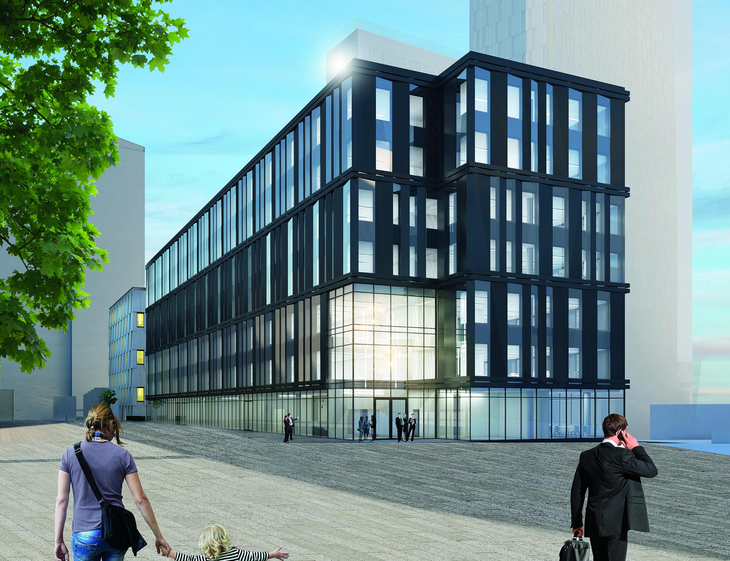 Vue du futur immeuble de bureaux du projet OBH.