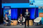 Xavier Bettel (Premier ministre, ministre des Communications et des Médias), Mariya Gabriel (Commissaire européenne chargée de l'économie et la société numériques) et Jean-Michel Gaudron (Luxinnovation)