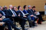 Etienne Schneider (Ministère de l'Économie), François Mousel (PwC Luxembourg), Serge Allegrezza (Statec), Carlo Thelen (Chambre de Commerce) Nicolas Schmit (Ministère du travail) et Mariana Mazzucato (University College of London)