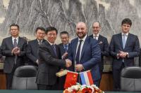 Wu Yanhua, administrateur adjoint de l'Administration spatiale nationale chinoise (CNSA); Étienne Schneider, Vice-Premier ministre, ministre de l'Économie
