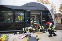 Simulation d'un accident de tram au Kirchberg.