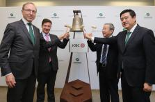 From left to right: Robert Scharfe, CEO of Luxembourg Stock Exchange; Nicolas Mackel, CEO of Luxembourg for Finance; Huang Changqing, Chinese ambassador to Luxembourg; Chen Fei, general manager of ICBC Luxembourg Branch