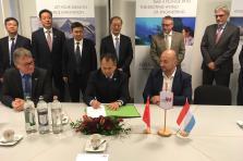 Michel Witte, CEO de IEE ; Sheng Wang, CEO du groupe IEE ; Étienne Schneider, Vice-Premier ministre, ministre de l'Économie
