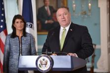 Secrétaire d'État Mike Pompeo et l'ambassadrice américaine à l'ONU, Nikki Haley,