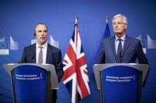 Dominic Raab et Michel Barnier lors de leur rencontre du 31 août dernier.