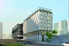 Le futur complexe OBH se compose de deux immeubles, l'un noir, l'autre blanc.