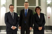 Jean-Claude Wiwinius – président de la Cour supérieure de Justice, Félix Braz – ministre de la Justice et Martine Solovieff – procureur général d'État.