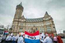 Environ 150 des 1.820 membres du personnel avaient manifesté devant la BCEE le 27 novembre dernier.