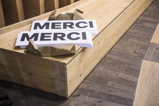 Les panneaux «merci» destinés aux militants pour célébrer une victoire aux Rotondes n'ont pas été utilisés.