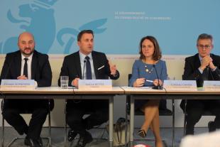 Étienne Schneider (LSAP), Xavier Bettel (DP), Corinne Cahen (DP), Félix Braz (Déi Gréng)