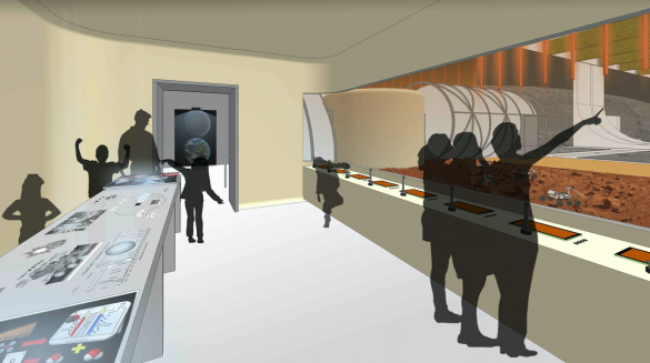 Les nouveaux dispositifs didactiques de l'Euro Space Center. Photo: Atelier Sompairac Architectes