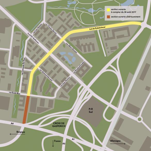 Seules deux des trois sections du boulevard Kockelscheuer seront ouvertes à la circulation ce lundi. La troisième le sera ultérieurement, une fois les travaux du stade achevés. (Crédit: Maison Moderne)