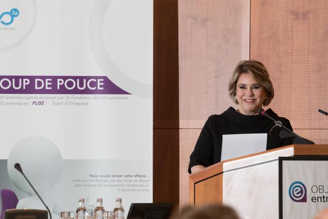 S.A.R. la Grande-Duchesse pendant son allocution, aux Journées du micro-entrepreneur, vendredi 13 octobre 2017