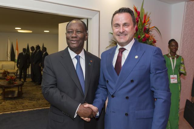 Alassane Dramane Ouattara, président de la république de Côte d'Ivoire et Xavier Bettel, Premier ministre, ministre d'État