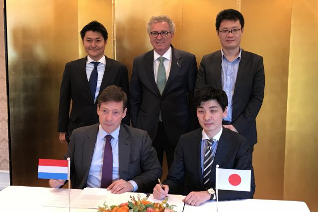 Nao Kitazawa, Board Director of the Fintech Association of Japan, H.E. Pierre Gramegna, Minister of Finance, Shirabe Ogino, Board Director of the Fintech Association of Japan, Nicolas Mackel, CEO of Luxembourg for Finance and Hiroki Maruyama, Chairman of the Board of the Fintech Association of Japan.