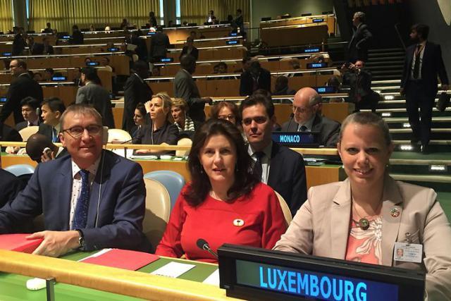 André Weidenhaupt, MDDI, Sylvie Lucas, ambassadeur et représentant permanent du Luxembourg auprès des Nations unies et Carole Dieschbourg, ministre de l'Environnement.