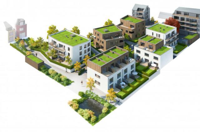 Toutes les pièces à vivre sont orientées Sud et la hauteur des immeubles et la déclivité du terrain permettent de ne pas couper la lumière.