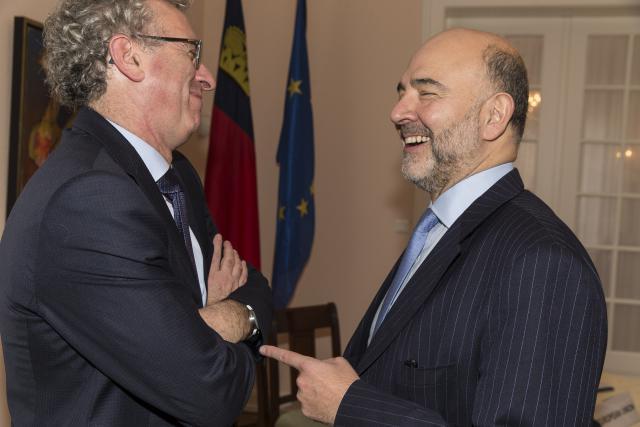 Pierre Gramegna et Pierre Moscovici, en 2015