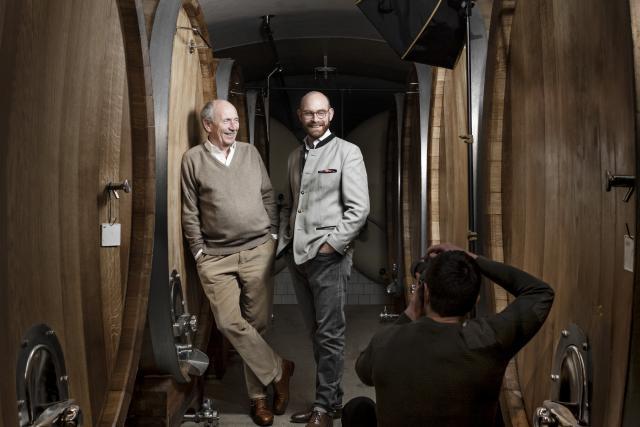 Hubert Clasen et son fils Antoine: passage de relais entre deux générations de vignerons.